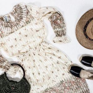 Vintage semi sheer floral collared midi dress
